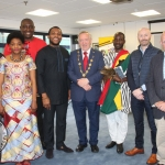 John Loftus, Limerick City and County Council, Sylvanie Nono, Jules Djiopang, Africa Day Organiser, David Idioh, Musician, Limerick City and County Mayor Stephen Keary, John Nutekpor, Seamus Brown, Limerick City and County Council and Kieran O'Hanlon from Limerick City and County Council, at the 13th Annual Africa Day Launch at Limerick City and County Council, Monday, May 21, 2018. Picture: Sophie Goodwin/ilovelimerick.