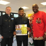 Garda Ollie Kennedy, David Idioh, Musician and Jules Djiopang, coorganiser of Limerick Africa day at the 13th Annual Africa Day Launch at Limerick City and County Council, Monday, May 21, 2018. Picture: Sophie Goodwin/ilovelimerick.