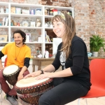 Pictured at a drumming workshop in celebration of Africa Day at Narrative 4. Picture: Orla McLaughlin/ilovelimerick.