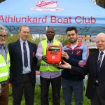 Pictured at the Athlunkard boat club for the presentation of the new donated defibrulator from South Limerick City Residents Association are Gerry O'Connell, Mike Kiely, Secretary for Athlunkard boat club, Mahmood Kodok, South City Residents Association, Ewan Gallaher, captain, and Dom Kiely, Trustee. Picture: Conor Owens/ilovelimerick.
