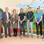 Pictured at the Launch of the Bedford Row Family Project's pre-qualifier competition held on May 18th for the JP McManus Pro-AM 2020 are Project Leader Larry De Cléir, Dr Liam Brown, LIT, Maria Byrne, Tommy Barrett, Kevin Downes,  Conor Ennis and Seanie Tobin. Picture: Conor Owens/ilovelimerick.