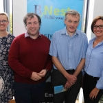 BNest Incubator Programme 2018/2019 is launched on September 5 at the Nexus Innovation Centre in the University of Limerick. Pictured are Kasia Zabinska, BNest, John Evoy, founder Irish Men's Sheds Association, Eamon Ryan, founder BNest and Pauline Gannon, BNest. Picture: ilovelimerick