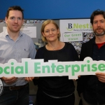 Pictured at the BNest Social Enterprise Incubator Showcase 2019 at Nexus Innovation Centre, UL was Shane Craul, Our Green Vision; Sarah Miller, Rediscovery Centre; Colm Galvin, Limerick and Clare Education and Training Board. Picture: Conor Owens/ilovelimerick.