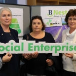 Pictured at the BNest Social Enterprise Incubator Showcase 2019 at Nexus Innovation Centre, UL was Carmel Cuddy, Bereft.ie, Joanna Griffin and Martha Lannin, Kildimo. Picture: Conor Owens/ilovelimerick.