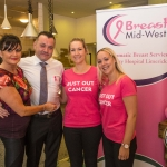 Pictured at the Pink Ribbon event for Breast Mid-West Symptomatic Breast Service University hospital Limerick at Hook and Ladder Lower Williams Street were: Caroline Moloney, Oliver Moloney, Aisling Meehan and Sarah Moloney, Hook and Ladder. Picture: Cian Reinhardt/ilovelimerick
