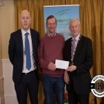 James O'Connor accepts the award for 2nd place in the Killmallock area modern category on behalf of St Mary's Burial Ground, Meanus, from Gordon Daly, Director of Services Limerick City and County Council and Deputy Mayor Noel Gleeson. The Annual Burial Ground Awards took place at the Woodlands House Hotel, Adare