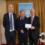 William Harty accepts the award for 1st prize in the Kilmallock area Modern category and 1st place Modern Category Overall on behalf of St Joseph's Burial Ground, Knocklong from Gordon Daly, Director of Services Limerick City and County Council and Deputy Mayor Noel Gleeson. The Annual Burial Ground Awards took place at the Woodlands House Hotel, Adare