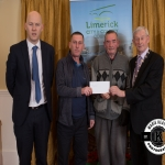 Robert Kelly and John Regan accept the award for 3rd place in the Kilmallock area ancient category on behalf of Temple Mary Burial Ground from Gordon Daly, Director of Services Limerick City and County Council and Deputy Mayor Noel Gleeson. The Annual Burial Ground Awards took place at the Woodlands House Hotel, Adare