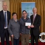Noreen and Martin Tobin accept the award for 2nd place in the Kilmallock area ancient category on behalf of Kilflyn Burial Ground from Gordon Daly, Director of Services Limerick City and County Council and Deputy Mayor Noel Gleeson. The Annual Burial Ground Awards took place at the Woodlands House Hotel, Adare