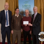 Michael Enright and Pat Harnett accept the award for 3rd place in the Newcastle West area ancient category on behalf of Monagea Burial Ground from Gordon Daly, Director of Services Limerick City and County Council and Deputy Mayor Noel Gleeson. The Annual Burial Ground Awards took place at the Woodlands House Hotel, Adare