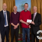 Conor Madigan and Paddy O'Regan accept the award for 1st place in the Rathkeale/Adare area ancient category on behalf of Croagh Burial Ground from Gordon Daly, Director of Services Limerick City and County Council and Deputy Mayor Noel Gleeson. The Annual Burial Ground Awards took place at the Woodlands House Hotel, Adare