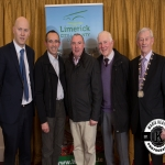 Gordon Daly, Director of Services Limerick City and County Council, Denis Collins, Councillor Francis Foley, Michael Dalton and Deputy Mayor Noel Gleeson were pictured at the Annual Burial Ground Awards in the Woodlands House Hotel, Adare