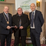 Donie Daffy, Croom Burial Ground, receives the 3rd Place Award in the Adare/Rathkeale Modern Category from Cathaoirleach Adare/Rathkeale Municipal District Kevin Sheahan and Gordon Daly, Director of Community Development Limerick City and County Council, at the Burial Ground Awards at Fitzgerald's Woodlands House Hotel and Spa, Adare