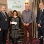 Noreen Culhane and Tom Costello, Croagh Community Burial Ground, receives the 2nd Place Award in the Adare/Rathkeale Modern Category from Cathaoirleach Adare/Rathkeale Municipal District Kevin Sheahan and Gordon Daly, Director of Community Development Limerick City and County Council, at the Burial Ground Awards at Fitzgerald's Woodlands House Hotel and Spa, Adare