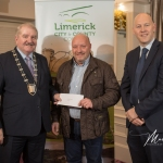 Bernard O'Reilly, Kilmurry Burial Ground, receives the 1st Place Award in the Metro Modern Category from Cathaoirleach Adare/Rathkeale Municipal District Kevin Sheahan and Gordon Daly, Director of Community Development Limerick City and County Council, at the Burial Ground Awards at Fitzgerald's Woodlands House Hotel and Spa, Adare
