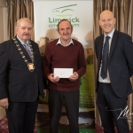 Dave Dillane, Mountcollins Burial Ground, receives the 2nd Place Award in the Newcastle West Modern Category from Cathaoirleach Adare/Rathkeale Municipal District Kevin Sheahan and Gordon Daly, Director of Community Development Limerick City and County Council, at the Burial Ground Awards at Fitzgerald's Woodlands House Hotel and Spa, Adare
