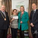 Celia O'Connell and Tina Behan, Kilmeedy Burial Ground, receives the 1st Place Award in the Newcastle West Modern Category from Cathaoirleach Adare/Rathkeale Municipal District Kevin Sheahan and Gordon Daly, Director of Community Development Limerick City and County Council, at the Burial Ground Awards at Fitzgerald's Woodlands House Hotel and Spa, Adare
