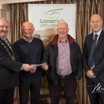 Martin Hayes and Seamus Coughlan, Kilkeedy/Ballybrown Burial Ground, receives the 1st Place Award in the Metro Modern Ancient category from Cathaoirleach Adare/Rathkeale Municipal District Kevin Sheahan and Gordon Daly, Director of Community Development Limerick City and County Council, at the Burial Ground Awards at Fitzgerald's Woodlands House Hotel and Spa, Adare