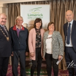 Maurice Gleeson, Joanne Lenihan and Teresa Harding, Ballingaddy Old Burial Ground, receives the 1st Place Award in the Cappamore/Kilmallock Ancient category from Cathaoirleach Adare/Rathkeale Municipal District Kevin Sheahan and Gordon Daly, Director of Community Development Limerick City and County Council, at the Burial Ground Awards at Fitzgerald's Woodlands House Hotel and Spa, Adare