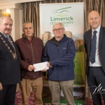 Patrick Mullins and John Mullins, Rathronan Burial ground, receives the 2nd Place Award in the Newcastle West Ancient category from Cathaoirleach Adare/Rathkeale Municipal District Kevin Sheahan and Gordon Daly, Director of Community Development Limerick City and County Council, at the Burial Ground Awards at Fitzgerald's Woodlands House Hotel and Spa, Adare