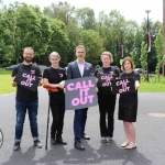Pictured at the #CALLITOUT event at the University of Limerick are Piotr Godzisz, Call It Out Scientific Leader, Ellen Murray, TENI, Richard Lynch, founder of I Love Limerick, Jennifer Schweppe, co-director of HHRG and lecturer at the UL School of Law, and Dr Amanda Haynes, co-director of HHRG and lecturer at the Department of Sociology, UL. Picture: Orla McLaughlin/ilovelimerick.