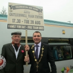Mini-festivals for celebrating the 160th anniversary of Castleconnell train station take place on August 28. Pictured: Leslie Hartigan from Castleconnell, Limerick Mayor Cllr James Collins. Photo: Baoyan Zhang/ilovelimerick