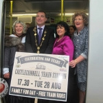 Mini-festivals for celebrating the 160th anniversary of Castleconnell train station take place on August 28. Pictured left to right: Babara Hartigan from Castleconnell, Limerick Mayor Cllr James Collins, Noreen Clohessy, Irish Rail District Manager, Senator Maria Byrne. Photo: Baoyan Zhang/ilovelimerick