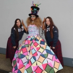 Natasha Amin, Erin Berming and Natalia Chroniak with their Junk Kouture design 'Radiant Wonder' at Coláiste Nano Nagle. Picture: orla McLaughlin/ilovelimerick.