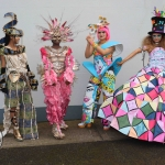 Feruza Rameto (Roming in deNile), Nancy Ekhatu (Wipe Out), Amanda Makulena (Swimming in Plastic) and Erin Berming (Radiant Wonder) pictured with their Junk Kouture designs at Coláiste Nano Nagle. Picture: Orla Mclaughlin/ilovelimerick.