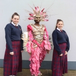 Leah Eos Grace, Nancy Ekhatu and Nikoletta Kozma with their Junk Kouture design 'Wipe Out' at Coláiste Nano Nagle. Picture: Orla McLaughlin/ilovelimerick.