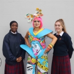 Buki Adeojom Ehim, Amanda Makulena and Caitlin O'Dwyer with their Junk Kouture design 'Swimming in Plastic' at Coláiste Nano Nagle.. Picture: Orla McLaughlin/ilovelimerick.