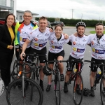 The inaugural 'Great Dalata Cycle 2018' in aid of CMRF Crumlin saw a number of Dalata Hotel Group employees cycle over 1,100km throughout the island of Ireland, is part of Dalata's wider charity initiative Dalata Digs Deep. Pictured for the cyclists arrival at the Maldron Hotel Limerick was Valerie O'Neill, General Manager Maldron Hotel and Joe Quinn, Clayton Hotels Operations Manager (second from left) with the cyclists. Picture: Richard Lynch/ilovelimerick.
