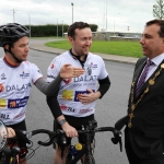 The inaugural 'Great Dalata Cycle 2018' in aid of CMRF Crumlin saw a number of Dalata Hotel Group employees cycle over 1,100km throughout the island of Ireland, is part of Dalata's wider charity initiative Dalata Digs Deep. Pictured for the cyclists arrival at the Maldron Hotel Limerick was James Collins, Mayor of the City and County of Limerick. Picture: Richard Lynch/ilovelimerick.