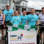 The inaugural 'Great Dalata Cycle 2018' in aid of CMRF Crumlin saw a number of Dalata Hotel Group employees cycle over 1,100km throughout the island of Ireland, is part of Dalata's wider charity initiative Dalata Digs Deep. Pictured for the cyclists arrival at the Maldron Hotel Limerick are staff of Club Vitae staff (in blue) with cyclists. Picture: Richard Lynch/ilovelimerick.