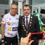 The inaugural 'Great Dalata Cycle 2018' in aid of CMRF Crumlin saw a number of Dalata Hotel Group employees cycle over 1,100km throughout the island of Ireland, is part of Dalata's wider charity initiative Dalata Digs Deep. Pictured are Joe Quinn, Clayton Hotels Operations Manager and James Collins, Mayor of the City and County of Limerick. Picture: Richard Lynch/ilovelimerick.