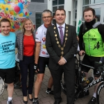 The inaugural 'Great Dalata Cycle 2018' in aid of CMRF Crumlin saw a number of Dalata Hotel Group employees cycle over 1,100km throughout the island of Ireland, is part of Dalata's wider charity initiative Dalata Digs Deep. Pictured are James Collins, Mayor of the City and County of Limerick with the cyclists and staff of the Maldron Hotel Limerick. Picture: Richard Lynch/ilovelimerick.