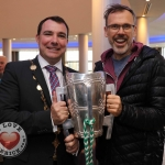 The inaugural 'Great Dalata Cycle 2018' in aid of CMRF Crumlin saw a number of Dalata Hotel Group employees cycle over 1,100km throughout the island of Ireland, is part of Dalata's wider charity initiative Dalata Digs Deep. The cyclists arrived at the Maldron Hotel where the McCarthy Cup was was waiting to greet them. Pictured are James Collins, Mayor of the City and County of Limerick with Richard Lynch of ilovelimerick. Picture: Aisling O'Connor/ilovelimerick.