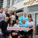 The inaugural 'Great Dalata Cycle 2018' in aid of CMRF Crumlin saw a number of Dalata Hotel Group employees cycle over 1,100km throughout the island of Ireland, is part of Dalata's wider charity initiative Dalata Digs Deep. The cyclists arrived at the Maldron Hotel where the McCarthy Cup was was waiting to greet them. Pictured holding the cup are James Collins, Mayor of the City and County of Limerick and Valerie O'Neill, General Manager Maldron Hotel with Joe Quinn, Clayton Hotels Operations Manager (second left back row), Sinead O'Toole, HR Manager Dalata Hotel Group (back far right) and Cllr Jerry O Dea (front far right) with Club Vitae Maldron staff (in blue) and the Dalata cyclists (in white). Picture: Richard Lynch/ilovelimerick.