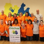 Pictured at the Dóchas Centre's coffee morning to celebrate World Autism Awareness Day are Dóchas staff and volunteers. Back (L-R) are Ger Purcell, Deidre Power, Sheila Lowney, Pauline Meaney, Sarah Moore, Brenda Sheehan and Alan Meaney. Front (L-R) are Shane Quinn, Laura Carmello, Solange Ndip, Aoife O'Leary, Anne O'Connor, Stevan Delaney and Jennifer Hogan. Picture: Orla McLaughlin/ilovelimerick.
