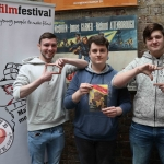 REPRO FREE 6/3/19. Pictured is Ireland's Young Filmmaker of the Year Awards 2019 finalist Rory McStraw, 18 from Down (centre) with Cameron Camblin, 18 from Dublin (left), and Mathew Piers, 18 from Dublin (right) at the Dublin regional heats of the Fresh Film Festival at the Irish Film Institute. Picture: Conor Owens/ilovelimerick.