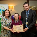 22.11.2016 Christmas has come early for two Limerick students after they were named overall winners of the 2016 Limerick City Fairtrade Christmas Card Competition at a ceremony in The Savoy Hotel. Receiving their prize from Deputy Mayor Cllr. Frankie Daly and Sinead McDonnell, Environment Officer was Molly O'Riordan, Scoil Mhuire, Bradford. Picture: Alan Place