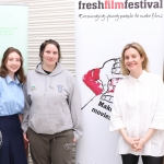 Michelle Brazil from Troy Studios pictured with students at Fresh Film Festival's Femme Friday event in the Belltable. Picture: Orla McLaughlin/ilovelimerick.
