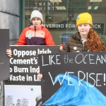 Pictured at the Fridays for Future limerick strike are Leon, Iona, and Saoirse Exton. Picture: Orla McLaughlin/ilovelimerick.