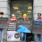 Pictured at the Fridays for Future limerick strike are Leon, Iona, Saoirse Exton, and Pavithra Kannon. Picture: Orla McLaughlin/ilovelimerick.