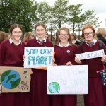 Pictured at the Limerick Fridays for Future strike in Arthurs Key Park as part of the Global Strike for Climate are Hannah Kehoe, Sarah Bryce, Deirdre Ní Naíonánin and Ellie Ní Chearmada from Laurel Hill Choláiste. Picture: Orla McLaughlin/ilovelimerick.