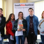 Pictured at the Galway regional heats for Ireland's Young Filmmaker of the Year Awards 2019 at the Town Hall Theatre are Scott Mason, 19, Chloe Nursimhulu, 18, finalist Ciare Nursimhulu, 18, James Kelly, 19 and Katherine Nursimhulu from Longford for the screening of Ciara's film 'Perspective in Time'. Picture: Conor Owens/ilovelimerick.
