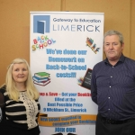 Ian Mills, shop manager, and Suzanne Roche, CEO and founder, at the Gateway to Education's delivery of second-hand books to Malawi Event. Picture: Conor Owens/ilovelimerick.