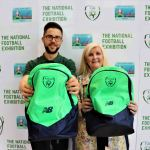 Pictured at the UL Sports Arena for the donation of 50 FAI Backpacks to Limerick's Gateway to Education by the National Football Exhibition are Colm Hand, coordinator of the National Football Exhibition and Suzanne Roche, CEO and Founder of Limerick's Gateway to Education. Picture: Conor Owens/ilovelimerick.