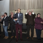 09.10.2018.           REPRO FREE Athea and Kilteely strike gold as final decision is too close to call. There were double the celebrations at the Limerick Going For Gold grand final this evening [Tuesday 09 October 2018] as Athea and Kilteely were jointly named as overall winners of the Limerick Going For Gold competition for 2018.   Going for Gold MC Richard Lynch is flanked by Henry Moran of Athea and John McCarthy, Kilteely as he announces the result. Picture: Alan Place