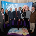 09.10.2018.            Athea and Kilteely strike gold as final decision is too close to call. There were double the celebrations at the Limerick Going For Gold grand final as Athea and Kilteely were jointly named as overall winners of the Limerick Going For Gold competition for 2018.   Pictured at the event were Going for Gold sponsors, Fergal Deegan, Limerick Leader, Geraldine O'Regan, Live95 FM, Roger Beck, Parkway Shopping Centre, Eugene Phelan, Limerick Leader, Richard Lynch, ILove Limerick, Mary O'Riordan and Richard Meade, Southern Advertising and Gerry O'Malley, Limerick Post. Picture: Alan Place